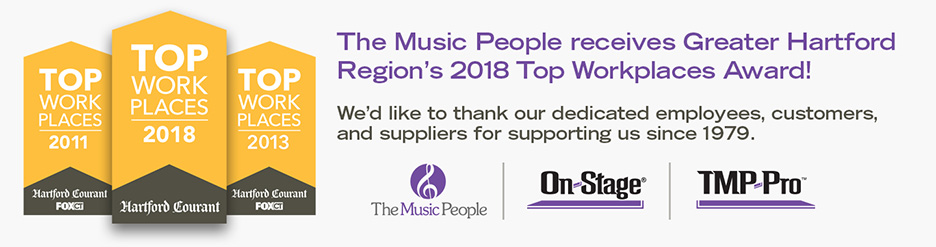The music people receives Greater Hartford Region's 2018 Top Workplaces Award! We'd like to thank our dedicated employees, customers, and suppliers for growing with us since 1979.